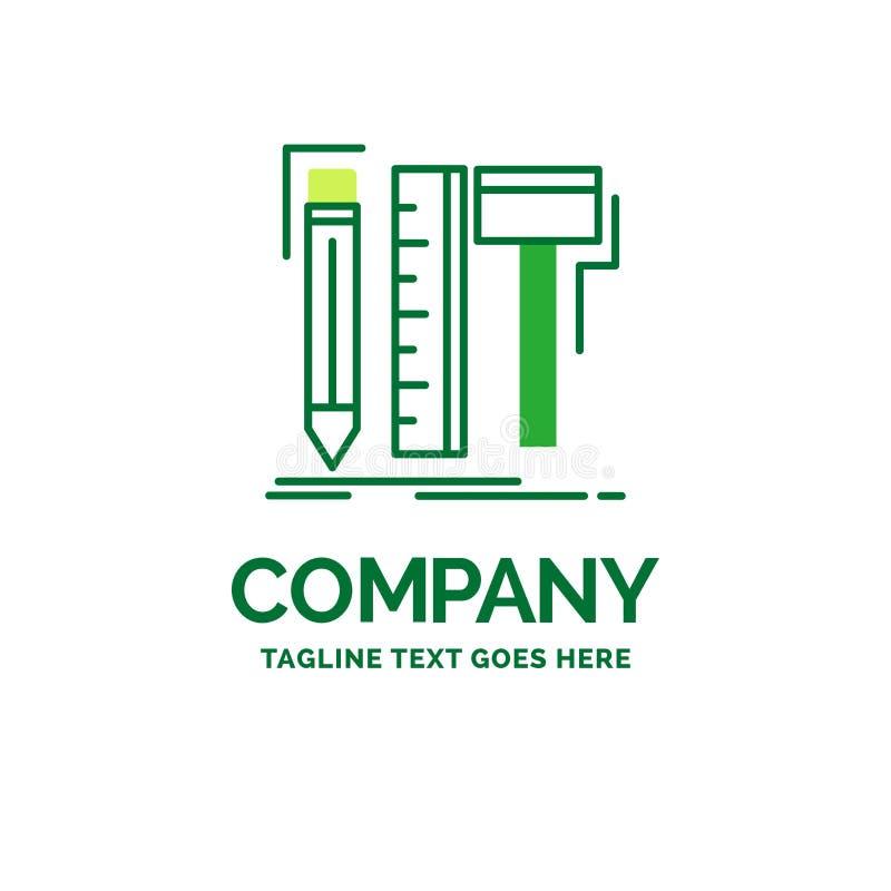 Diseño, diseñador, digital, herramientas, temporeros planos del logotipo del negocio del lápiz libre illustration