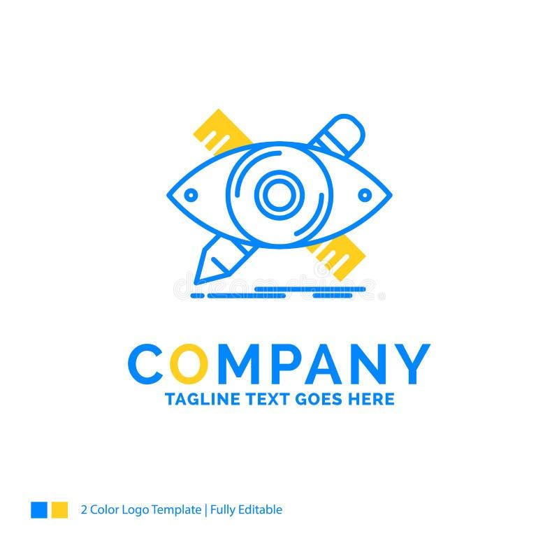 diseño, diseñador, ejemplo, bosquejo, herramientas Busine amarillo azul stock de ilustración
