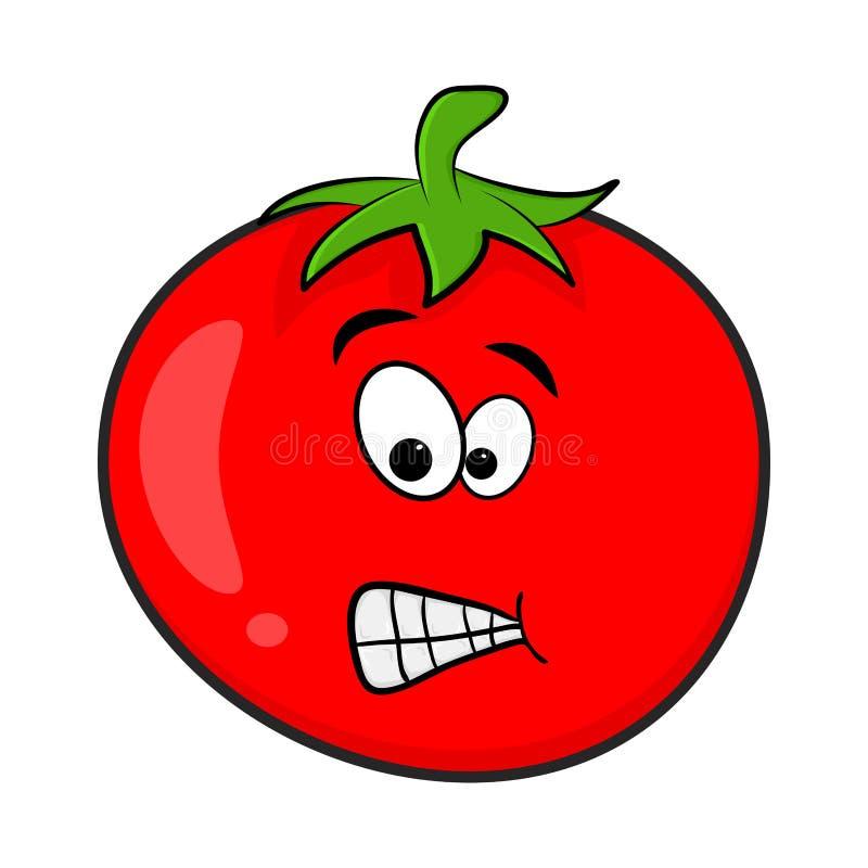 Diseño divertido de la historieta del carácter del tomate aislado en el backgrou blanco libre illustration