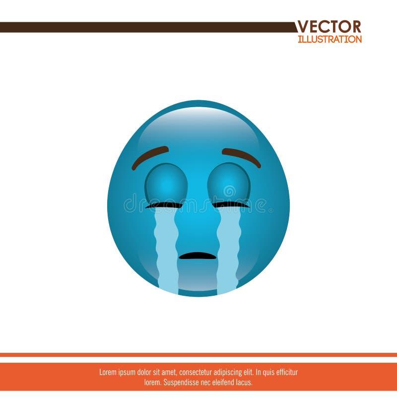 diseño divertido del emoticon ilustración del vector