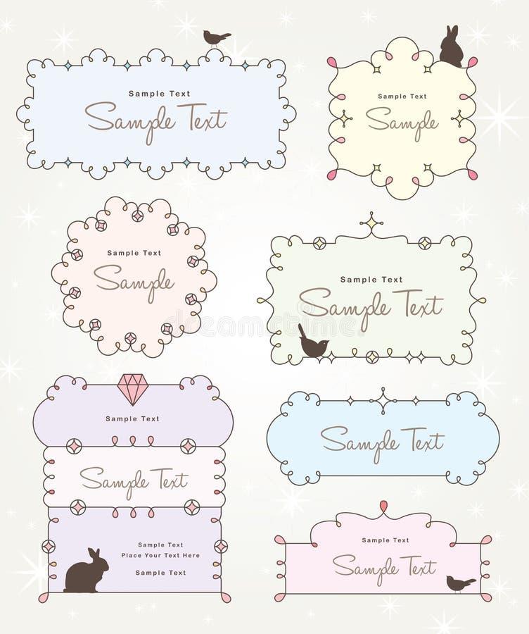 Diseño dulce y lindo de los marcos stock de ilustración