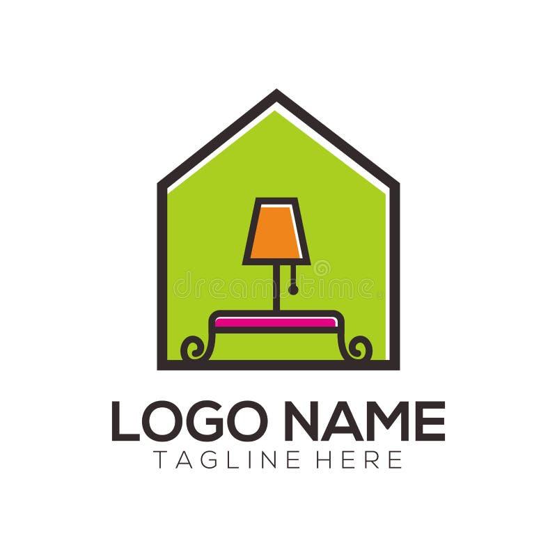 Diseño e icono del logotipo de los muebles stock de ilustración
