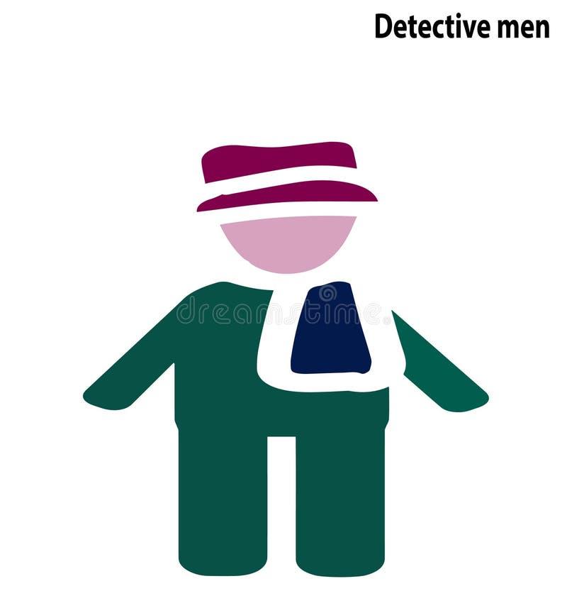 Diseño editable del símbolo del icono de los hombres detectives stock de ilustración