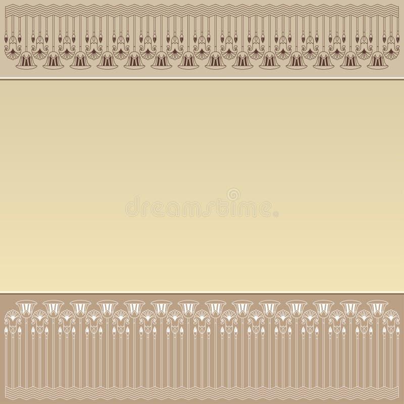 Diseño egipcio con los elementos de la planta stock de ilustración