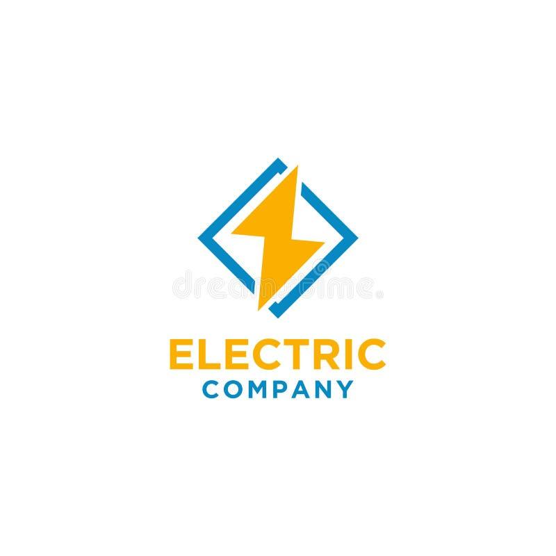 Diseño eléctrico del logotipo con el marco cuadrado stock de ilustración