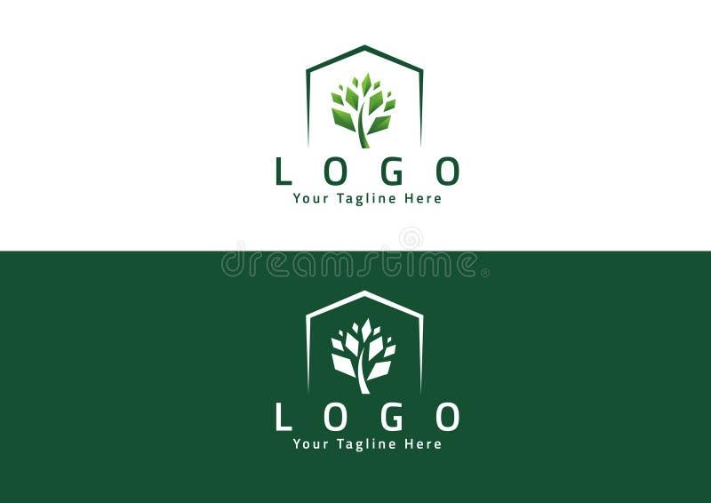 Diseño elegante abstracto del vector del icono del logotipo de la flor del árbol stock de ilustración