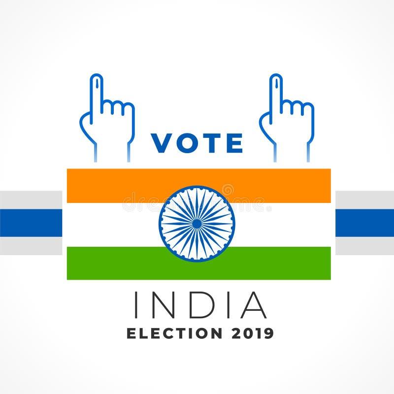 Diseño elegante de la bandera de la India del voto ilustración del vector