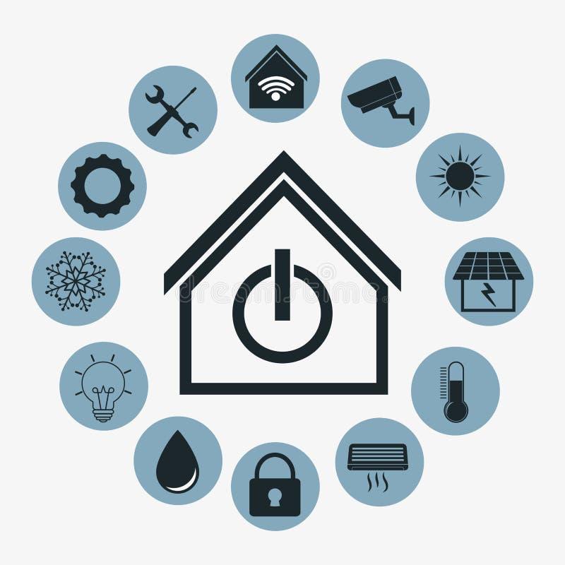 Diseño elegante de la casa Icono de la tecnología gráfico libre illustration