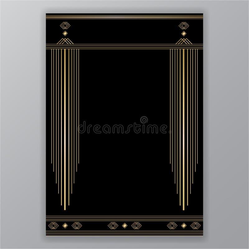 Diseño elegante de la página de Art Deco, decoración del menú libre illustration
