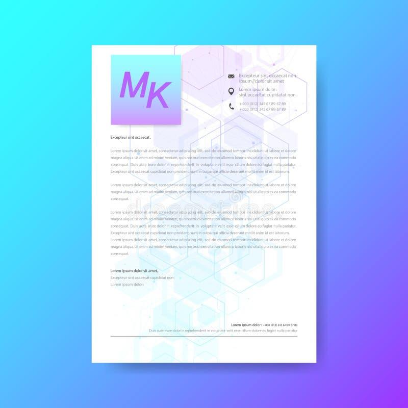 Diseño elegante de la plantilla del papel con membrete en estilo mínimo estructuras moleculares hexagonales del fondo abstracto e libre illustration