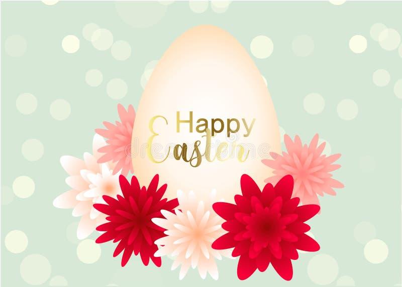 Diseño elegante de la tarjeta de felicitación del día de Pascua con las flores stock de ilustración