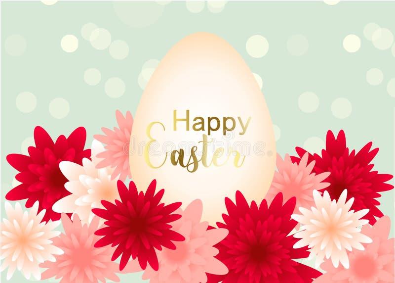 Diseño elegante de la tarjeta de felicitación del día de Pascua con las flores ilustración del vector
