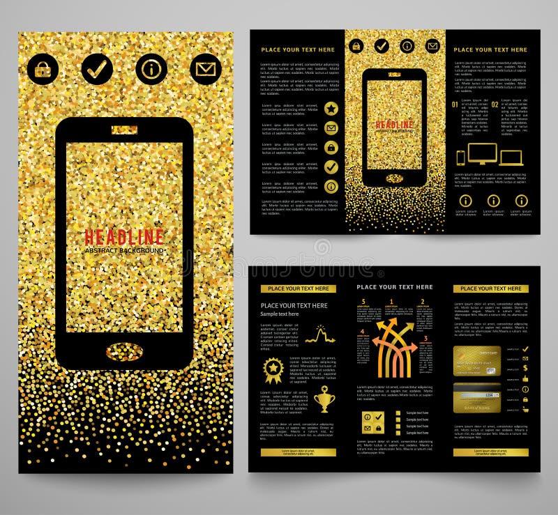 diseño elegante de oro del folleto del negocio stock de ilustración