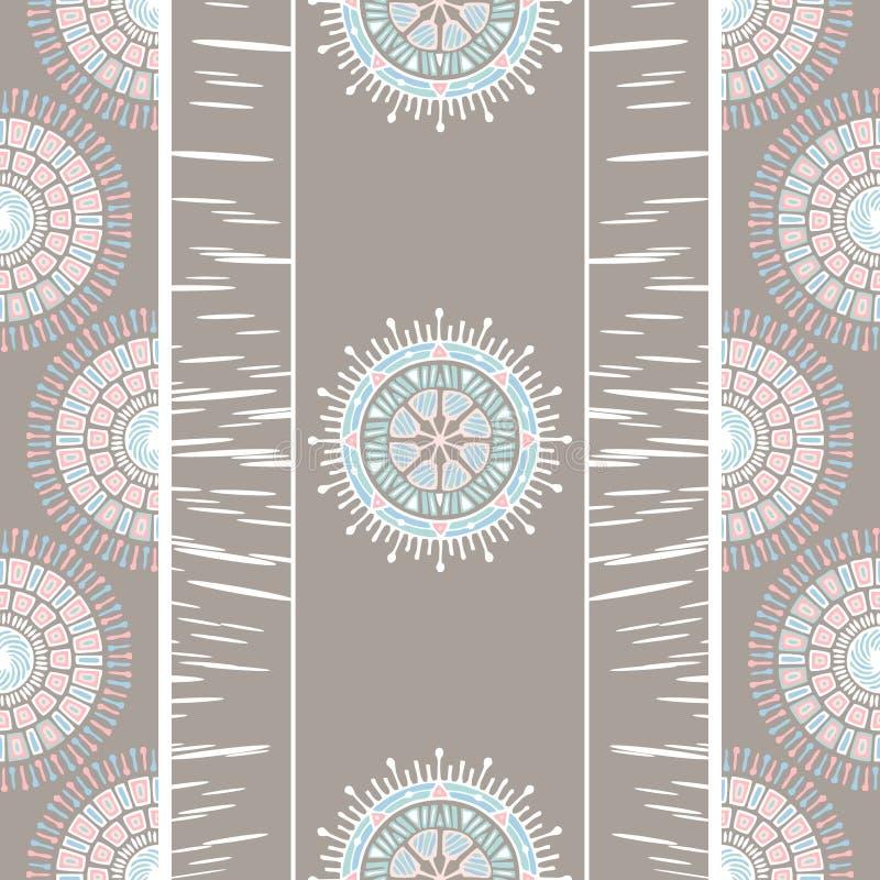 Diseño elegante del boho tribal para el modelo inconsútil del estilo de la mandala con el fondo en colores pastel stock de ilustración
