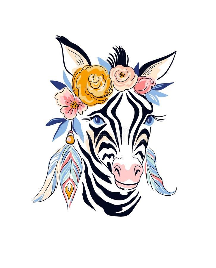 Diseño elegante del boho del vector Cebra y flores dibujadas mano del ejemplo stock de ilustración