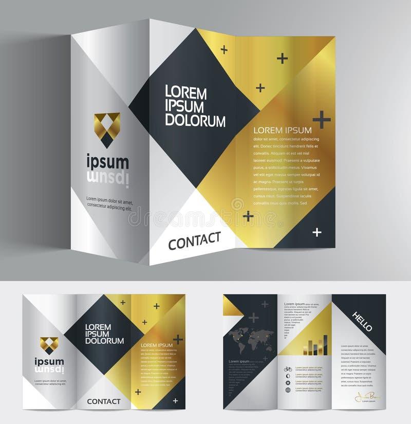 Diseño elegante del folleto del negocio del gráfico de vector para su compañía en el negro y el color oro de plata stock de ilustración