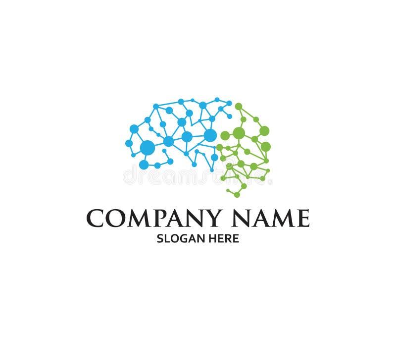 Diseño elegante del logotipo del vector del ejemplo del sistema de la neurona de la matriz del cerebro creativo libre illustration