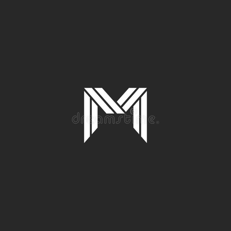 Diseño elegante del monograma del logotipo de la letra M Líneas que entretejen blancos y negros de lujo emblema creativo linear d ilustración del vector