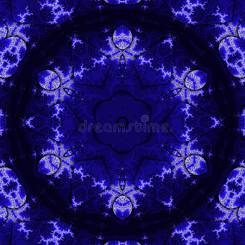 Diseño elegante del papel pintado del vintage Modelo del cordón Victorian retro en añil y color azul stock de ilustración