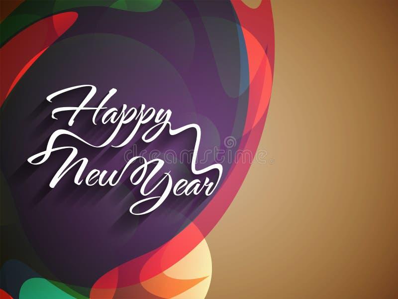 Diseño elegante del texto de Feliz Año Nuevo en colorido  ilustración del vector