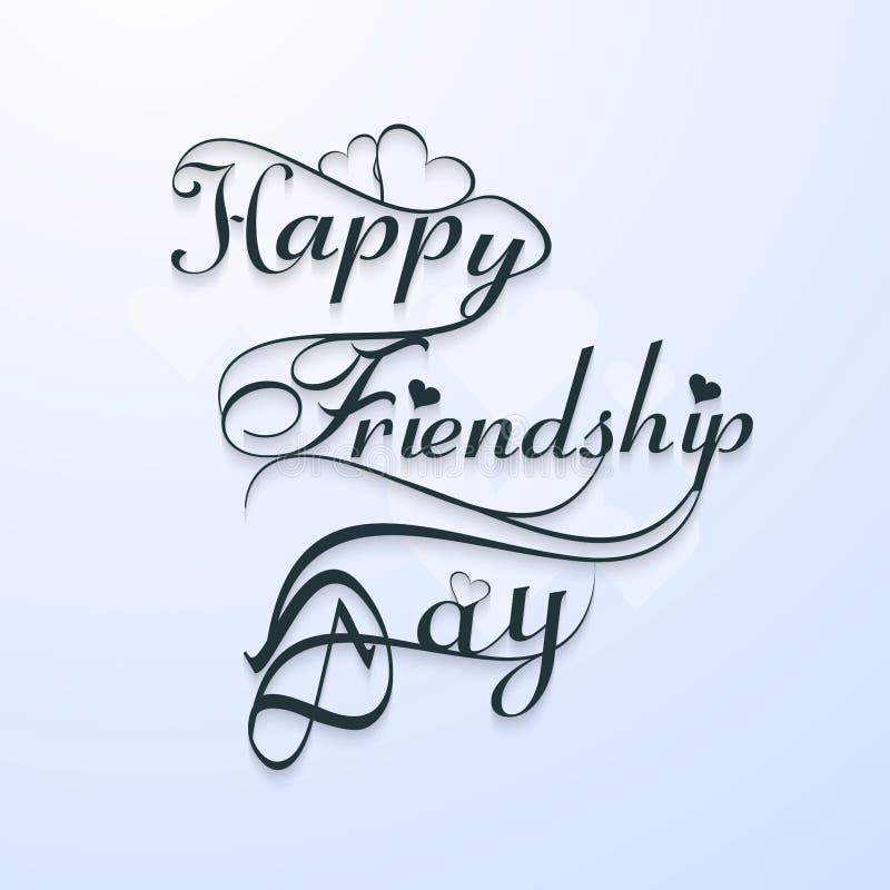 Diseño elegante del texto del día feliz hermoso del friendsship libre illustration