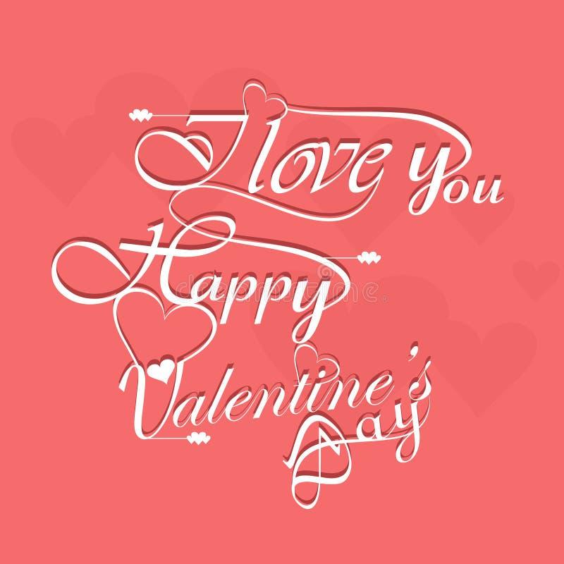 Diseño elegante hermoso del texto para el día de tarjeta del día de San Valentín feliz libre illustration