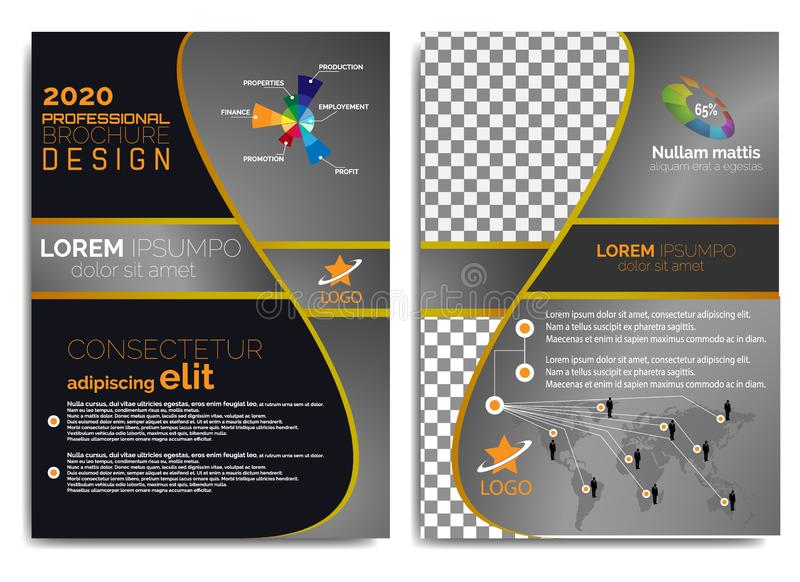 Diseño elegante, moderno y profesional 2019 del folleto ilustración del vector