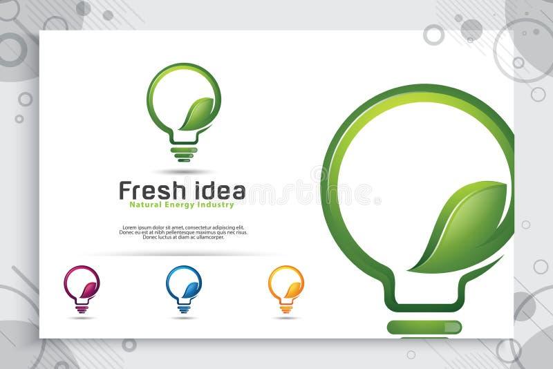 Diseño elegante verde del logotipo del vector de la idea de la energía con el concepto moderno del estilo del color, lámpara digi stock de ilustración