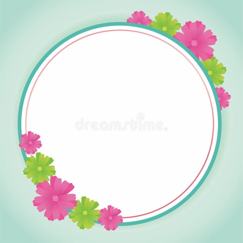 Diseño en blanco del marco con las flores libre illustration