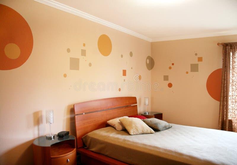 Diseño en dormitorio moderno fotografía de archivo