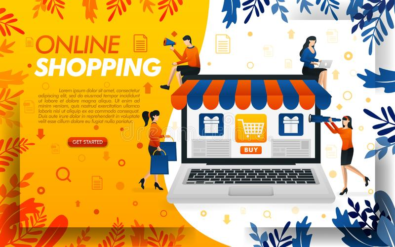 Diseño en línea de la página web que hace compras la gente está haciendo compras en línea con los ordenadores portátiles, ilustra libre illustration