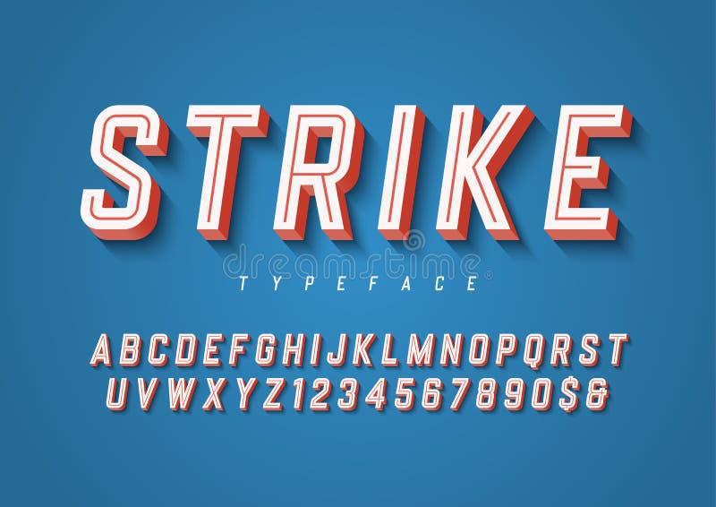 Diseño en línea de moda de la fuente de la exhibición de los deportes de la huelga, alfabeto, typef ilustración del vector