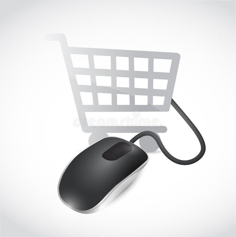 Diseño en línea del ejemplo del concepto del ratón de las compras stock de ilustración