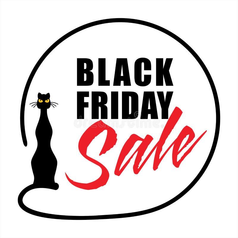 Diseño en un fondo blanco con un gato negro, ejemplo de la bandera de la venta de Black Friday del vector imagen de archivo libre de regalías