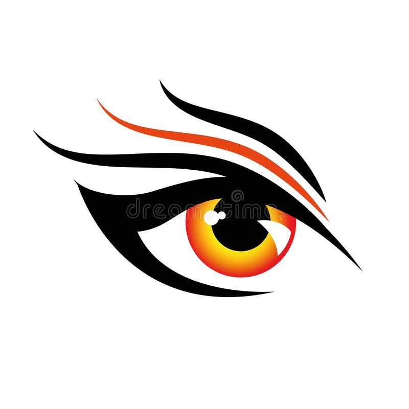 Diseño enojado rojo del ojo humano en el fondo blanco ilustración del vector