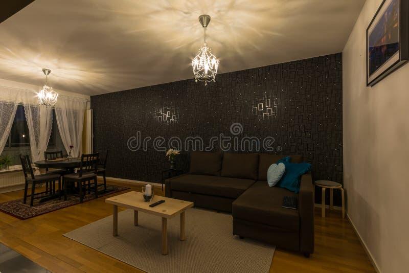 Diseño escandinavo interior de sala de estar foto de archivo