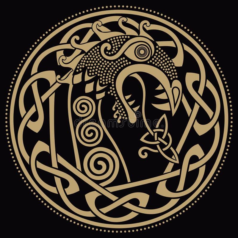 Diseño escandinavo La figura nasal de la nave Drakkar de Viking bajo la forma de dragón, y el escandinavo torcido stock de ilustración