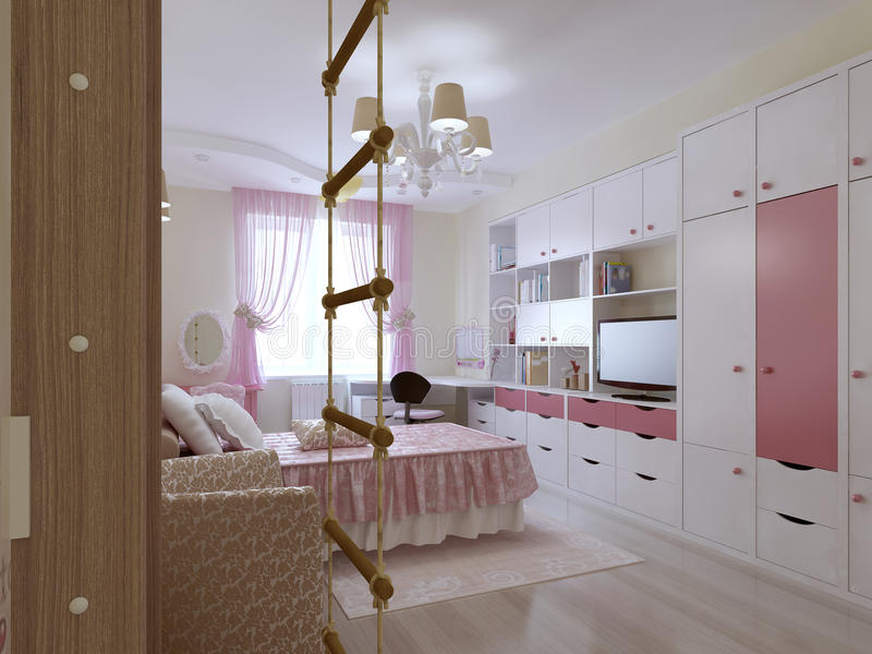 Diseño espacioso del dormitorio del adolescente ilustración del vector