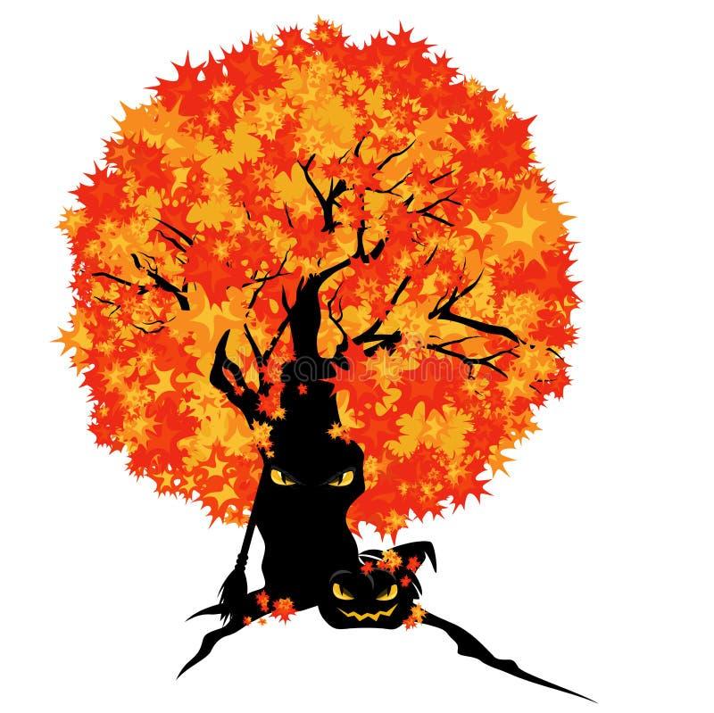 Diseño espeluznante del vector del árbol y de la calabaza de Halloween libre illustration