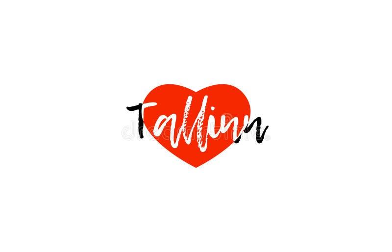 Diseño europeo del logotipo del texto del corazón del amor de Tallinn del capital ilustración del vector