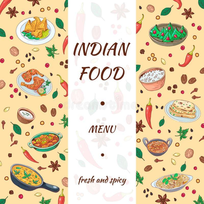 Diseño exhausto de la comida de la mano india del menú Gráficos asiáticos de la cocina con el fondo delicioso Verduras del bosque libre illustration