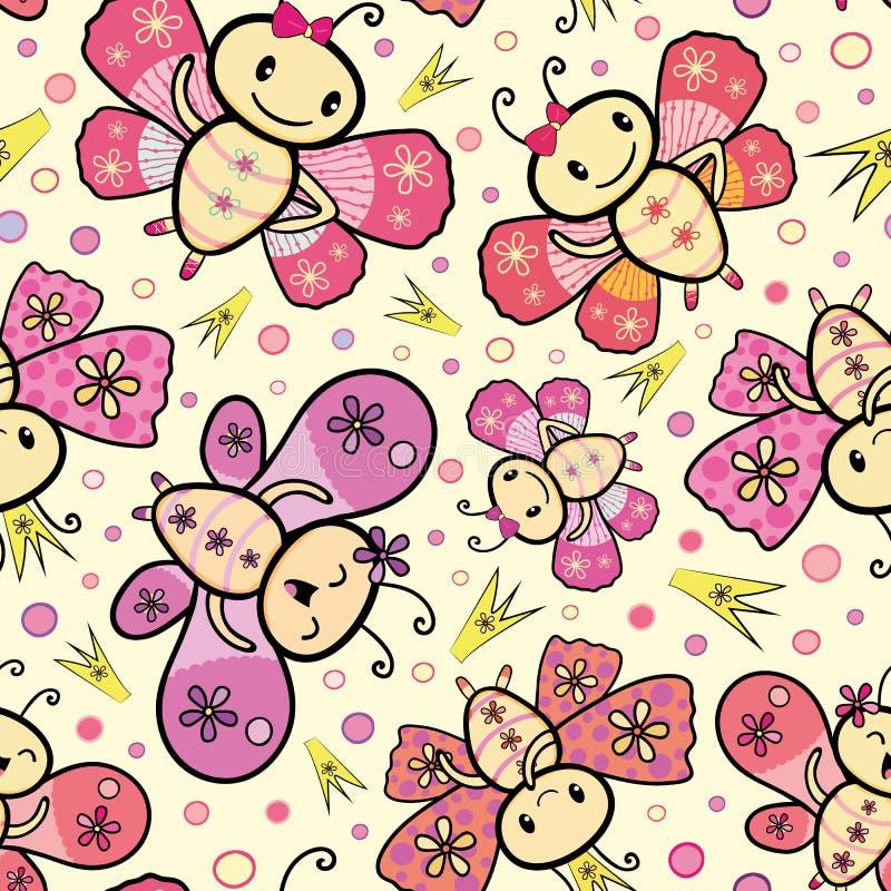 Diseño exhausto de las mariposas del baile del estilo de Kawaii del rosa y de la mano anaranjada con las coronas y los círculos a ilustración del vector