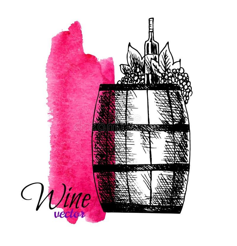 Diseño exhausto del concepto del degustation del vino a disposición Barril, botella de las uvas del vino en fondo rojo de la acua ilustración del vector