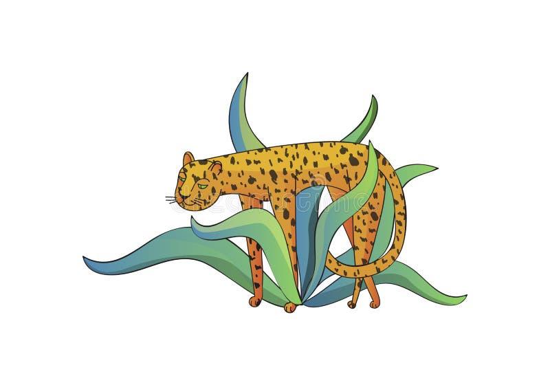 Diseño exhausto del vector de la mano de leopardo y de hojas tropicales con pendientes Gato salvaje grande Tema del parque zoológ libre illustration
