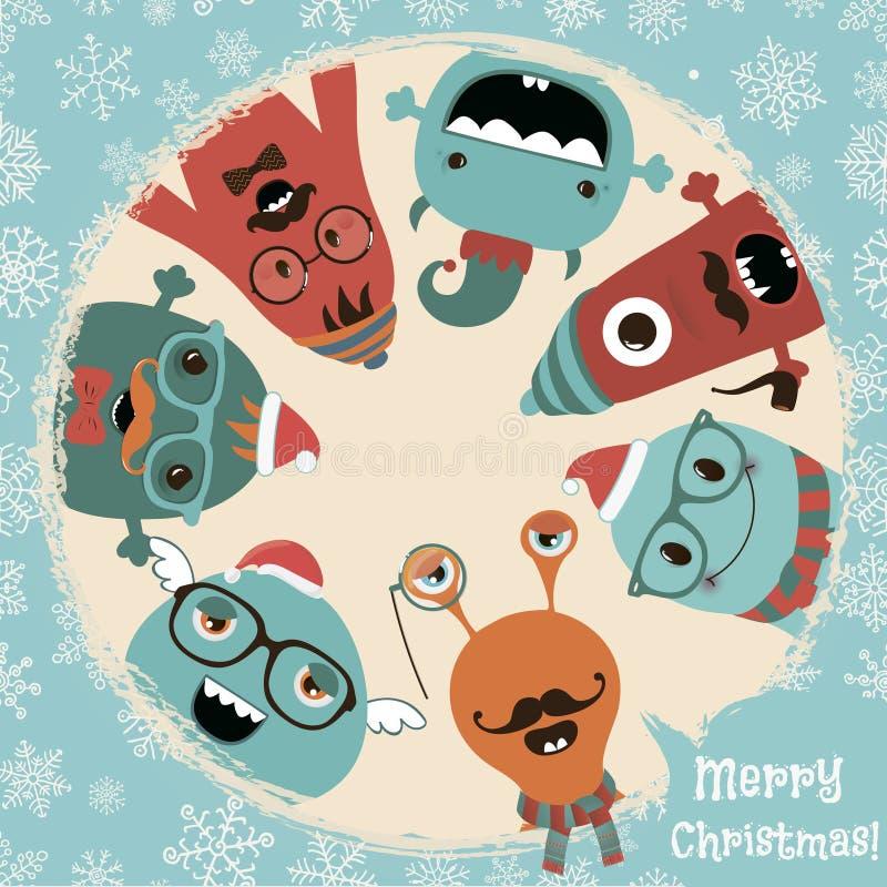 Diseño extraño retro de la tarjeta de Navidad de los monstruos del inconformista ilustración del vector