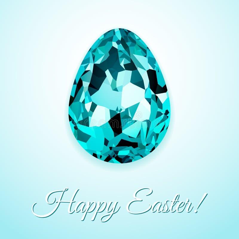 Diseño feliz de la tarjeta de felicitación de Pascua con el huevo de Pascua cristalino creativo en el fondo y la muestra ligeros  libre illustration