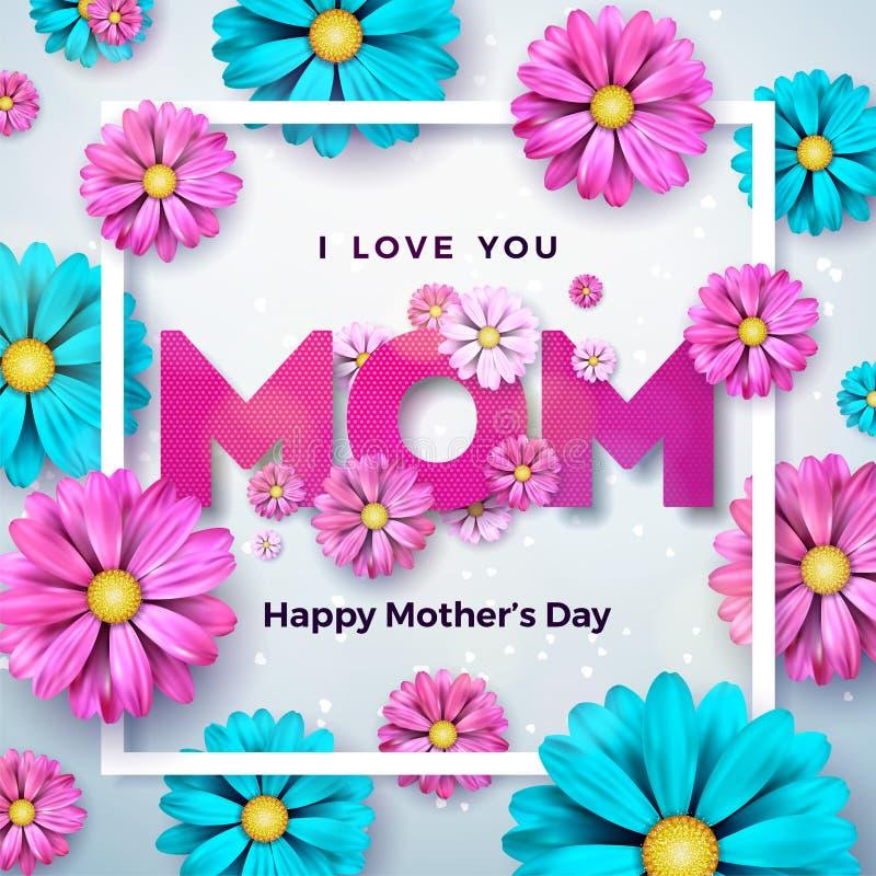Diseño feliz de la tarjeta de felicitación del día de madres con la flor y elementos tipográficos en fondo limpio Te amo vector d libre illustration