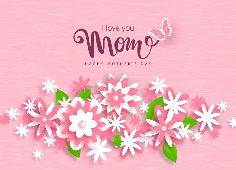 Diseño feliz de la tarjeta de felicitación del día de madres con las flores de papel hermosas Disposición de diseño para la invit stock de ilustración
