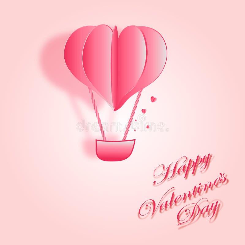 Diseño feliz de la tarjeta de felicitaciones del vector de día de San Valentín con el globo del vuelo de la forma del corazón 3d  stock de ilustración