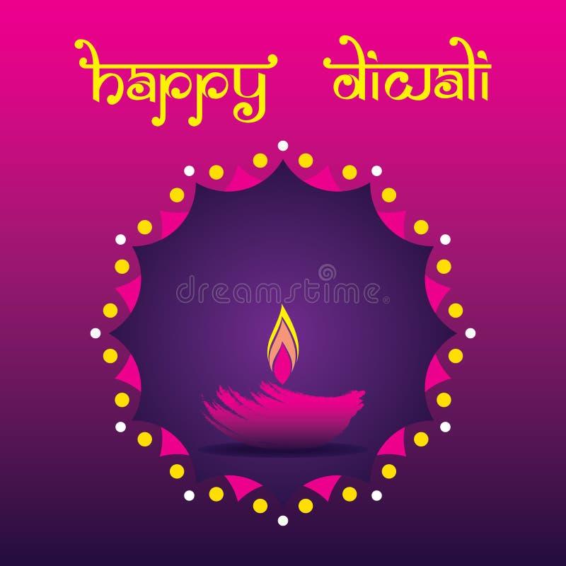 Diseño feliz del cartel de Diwali usando diya ilustración del vector
